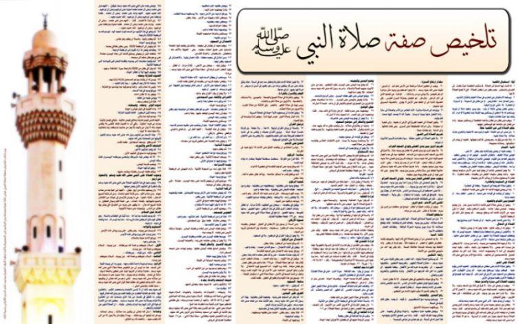 لوحة تلخيص صفة صلاة النبي صلى الله عليه وسلم